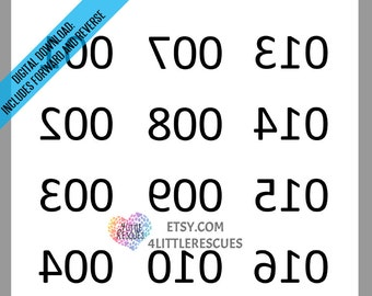 Mirror Image (Reverse) Backwards Numbers 1-180 / Numbered Item Inventory Tag / Printable Tags for Live Sales to 180