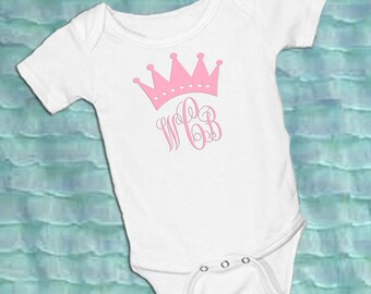 Monogram with Crown Personalized White onsie Snap bottom all in one bodysuit