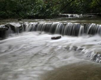 "Waterfall photograph, water wall art, white, black -- ""Evening Light on Waterfall"", an 8x16-inch fine art photograph"
