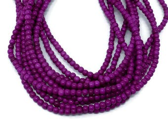 Red Violet Howlite - 4mm Round Bead - Full Strand - 114 beads - Purple Magenta Lilac - synthetic turquoise