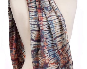 Silk Charmeuse Shibori Scarf Zircon Subtle Tie Dye