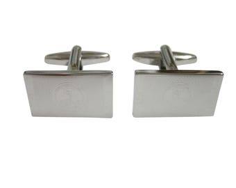 Silver Toned Etched Virginia State Flag Cufflinks