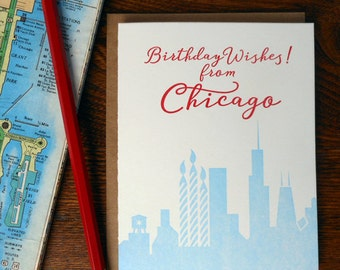 letterpress birthday wishes from chicago greeting card cityscape city of chicago birthday candles happy birthday