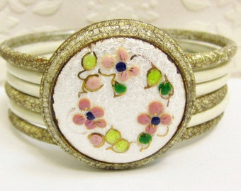 Vintage Guilloche Enamelled Bangle Shabby Chic