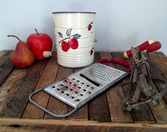 Vintage Red Kitchen Utensils, Red Cherry Sifter, Red Handle Vintage Egg Beater, Red Cheese Grater