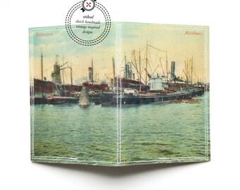Passport Cover - Rotterdam harbour vintage postcard