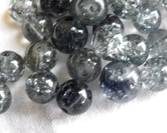 50 black and white cracked Crystal 8 mm glass beads
