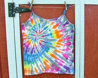 Women's 2XL Spaghetti Strap Tie Dye Tank Top - Rainbow Side Swirl - Ready to Ship