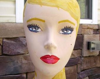 Vintage Flapper Girl Mannequin Head Store Display/Hat Display/Paper Mache over Wood/Mannequin Head