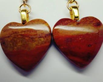 Oregon Jasper, Hook Earrings, Heart stones, Valentine