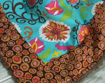Plush fleece Baby Blanket/Modern Quilt - girl - boho funky fabulous - teal, coral, pink, green, brown, flowers, bold