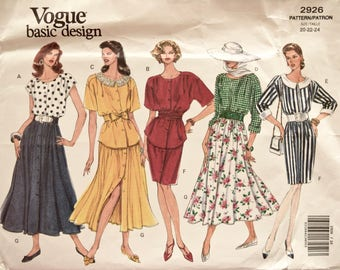 Sewing Pattern Vogue 2926 Vintage 1990s Loose Fitting Blouses Tapered Skirt Flared Skirt Vogue's Basic Design Very EASY UNCUT Size 20-24