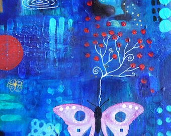 Cobolt Dreams -038-Mixed Media Painting by Carianne James