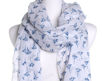 Soft Flower White Scarf / Spring Summer Scarf / Autumn Fall Scarf / Womens Scarves / Christmas Gift For Her / Birthday Present / Sarong