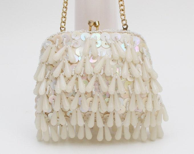 Vintage 1950s Cream Beaded Evening Bag