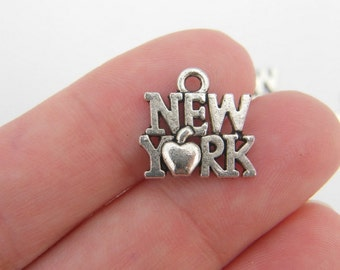 10 New York charms antique silver tone WT23