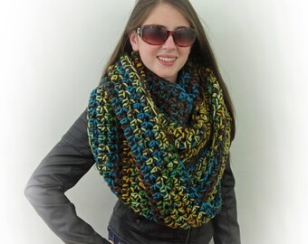 Hand-knitted Chunky Oversized Infinity Cowl Scarf in Brown, Yellow, Green, Blue