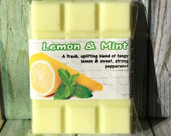 Lemon & Mint ~ Soy Wax Melts Chunks Bar ~ Soy Wax Tarts ~ Highly Scented Melts ~ 12 Cube Bar ~ 100% Natural Soy Wax