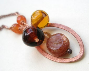 Amber and Sunstone Copper  Necklace