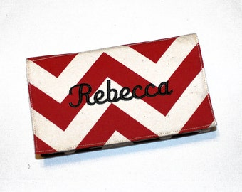 Personalized Chevron Fabric Checkbook Cover for Duplicate Checks with Pen Holder - Your Name or Monogram