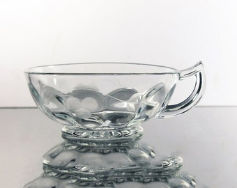 Etched Nappy, Wheel Cut, Berry Pattern, Handled Bowl, Clear Glass, Serving Bowl