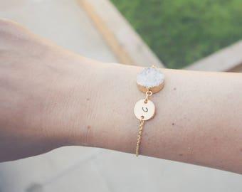 Gold Initial Bracelet & Grey Druzy Charm, Initial Bracelet, Druzy Bracelet, Bridesmaid gift