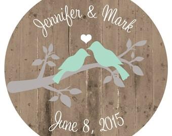 Lovebird Wedding Sticker Rustic Wedding Favor Tags Bridal Shower Stickers Bridal Shower Favor Stickers