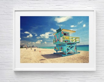 Miami Print, South Beach, Florida Photography, Beach Print, Beach Decor, Miami Beach, Mint, Teal, Lifeguard, Bedroom Decor, Large Wall Art