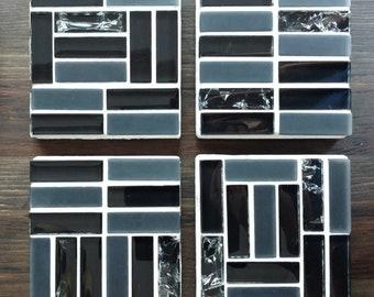 Mosaic Coasters, Handmade, Beautiful Black and White Glass Pattern, Art, Stone Coasters