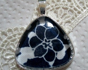 Blue and White Floral Fabric Pendant