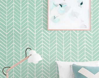 Self adhesive vinyl wallpaper - Herringbone pattern print  - 026 SNOW/ MINT