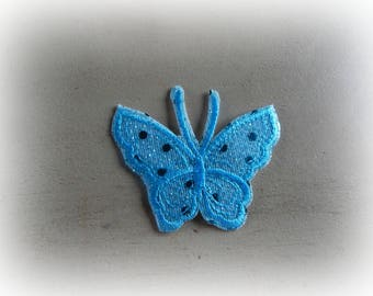 1 patch fusible patch / applique Butterfly in shades of turquoise 7.5 * 6 cm