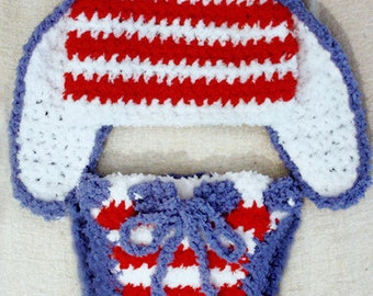 3 to 6m Red White Blue Pom Pom Diaper Cover Baby Easter Bunny Hat Patriotic USA Bunny Ear Crochet Baby Hat Stars Stripes Easter