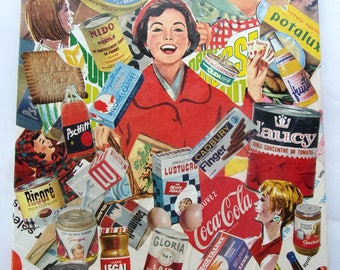 painting collage on canvas - product of past - vintage 30x40cm