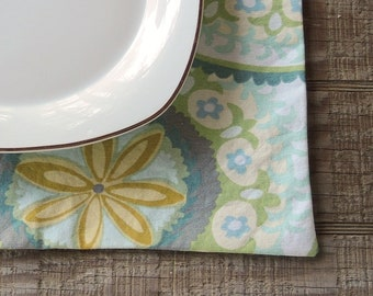 Modern Green Print Reversible Placemats Set of 4 Spring Green Polka Dots Table Mats Placemats