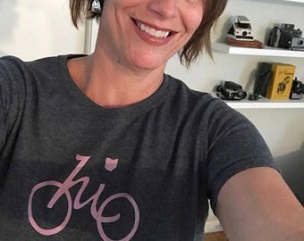 Pink on Gray Ladies Ohio Bike T-shirt by Ohio Chicken Custom Tees
