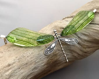 Fused Glass Green Dragonfly Necklace
