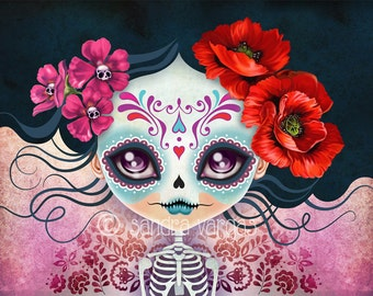 Sugar Skull Girl - Amelia Calavera 8 x 10 Digital Art Print