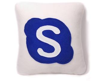 12 x 12 handmade skype Pillow - handmade pillow - decorative pillow - geekery pillow