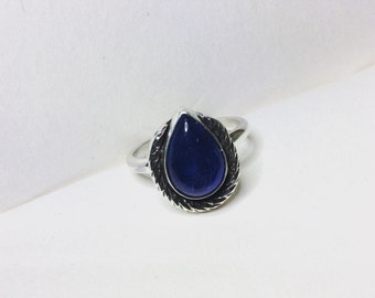 Horseshoe - Kyanite Teardrop Sterling Silver Ring