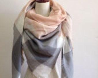 Pink n Grey - Blanket Scarf