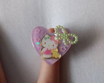 Hello Kitty Sticker Fairy Kei Charm Ring