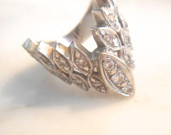 Ring 14 K White  Gold Marquise Chevron  Diamond Ring