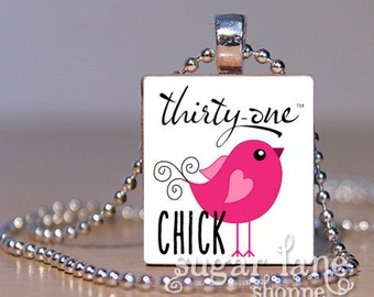 Thirty One Necklace - Thirty-One Chick Necklace - Pink, Black, White -Scrabble Necklace - Scrabble Tile Pendant with Chain