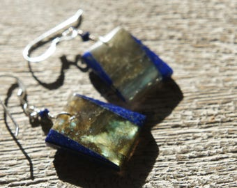 Lapis Lazuli, Labradorite EARRINGS/ Natural Gemstone/ Intarsia/Inlay/ indigo/blue/gray/silver/blue flash/ lightweight /sparkle/Boho