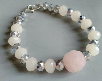 Rose quartz and silver coated faceted glass bead bracelet with sterling silver fastening. Ooak. Secret Santa. Stocking filler stuffer.