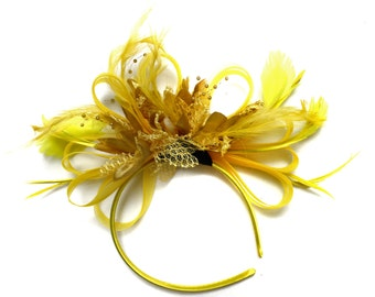 Bright Yellow & Gold Feathers Fascinator on Headband