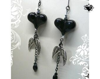 Punk Rock Black Hearts Silver Angel Wings Charm Earrings
