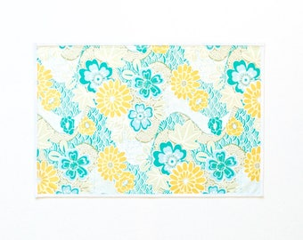 Yellow, Teal Blue Green, Grey and White Seascape Laminated Cotton Outdoor Placemat