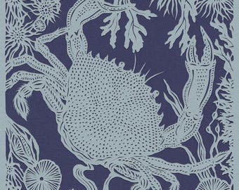 Crab papercut. 'Velvet Crab'. Print from an original handmade papercut.